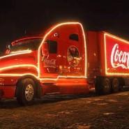 Рождественский караван грузовиков Coca-Cola фотографии