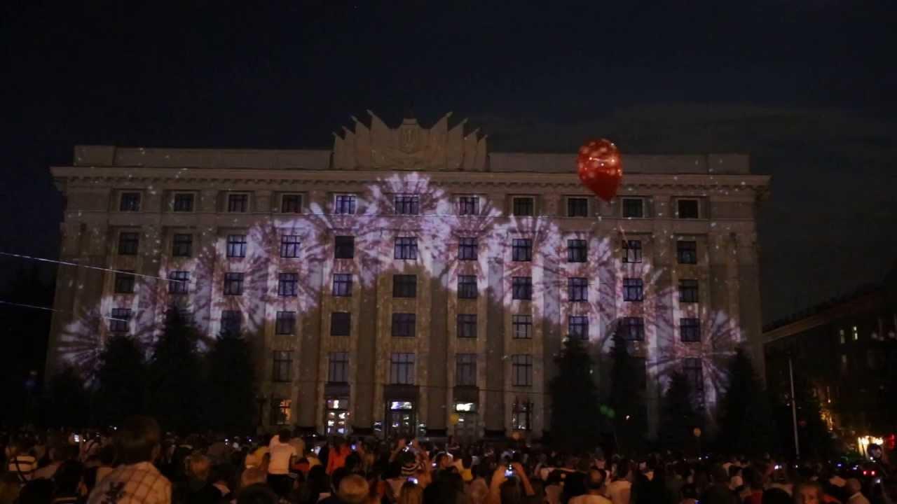 3D световое шоу наздании кинотеатра «Родина»